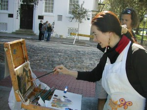 Lyuba Titovets painting at Washington Park