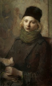 Portrait of Girl with Dove by Charles Weed