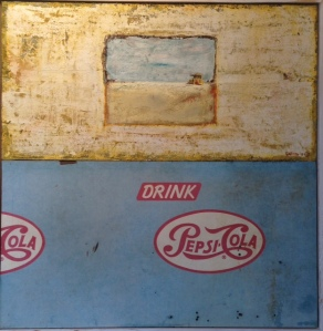 The Thirst by Gaston Locklear 36.5 x 35.5, oil and wax on panel with old countertop