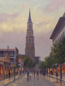 """Church Street at Dusk""  16"" x 12"", Oil on Canvas   Simon Balyon"