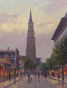 """""""Church Street at Dusk""""  16"""" x 12"""", Oil on Canvas   Simon Balyon"""